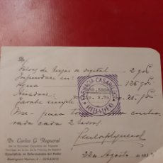 Collectionnisme: 1934 RIBADEO LUGO RECETA MÉDICA D.CARLOS REGUERAL FARMACIA CASARIEGO. Lote 176639510
