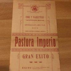 Coleccionismo: PROGRAMA TEATRO ESLAVA VALENCIA.PASTORA IMPERIO.ADRIA RODI.1916. Lote 176928232
