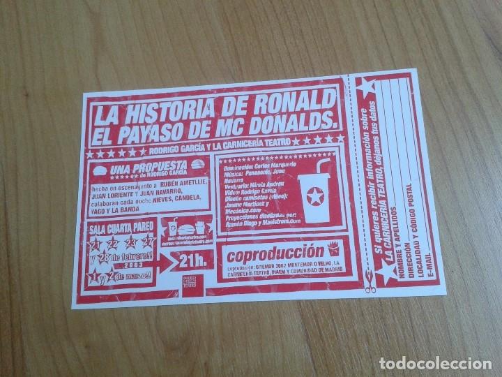 LA HISTORIA DE RONALD -- RODRIGO GARCÍA Y LA CARNICERÍA TEATRO -- FICHA TÉCNICA -- 2003 COMPARTIR L (Coleccionismo - Laminas, Programas y Otros Documentos)
