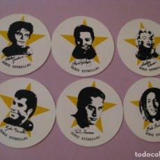 Coleccionismo: LOTE DE 6 POSAVASOS DE GOMA BLANDA. SERIE ESTRELLAS. 9 CM.. Lote 177010624