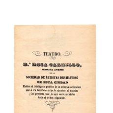 Coleccionismo: PROGRAMA DE TEATRO.- IMPRENTA IGNACIO RAMON BAROJA. CIRCA.1820. Lote 177208308