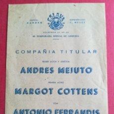 Coleccionismo: PROGRAMA TEATRO ESLAVA VALENCIA UNA MUCHACHITA DE VALLADOLID - FERRANDIS COTTENS - ANDRÉS MEJUTO. Lote 177746753