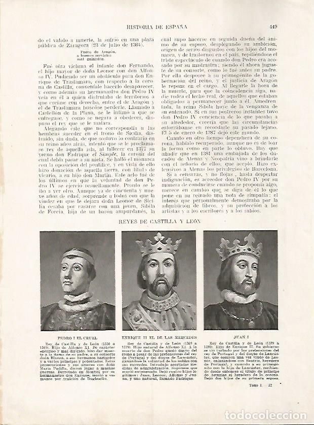 LAMINA 17852: PEDRO I EL CRUEL, ENRIQUE II Y JUAN I (Coleccionismo - Laminas, Programas y Otros Documentos)