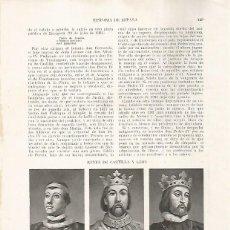 Coleccionismo: LAMINA 17852: PEDRO I EL CRUEL, ENRIQUE II Y JUAN I. Lote 178351465