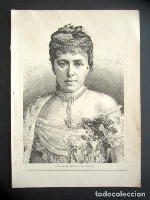 Coleccionismo: ANTIGUA LITOGRAFÍA DE SU MAJESTAD LA REINA MARÍA CRISTINA. 28 X 20 CM - Foto 2 - 178707832