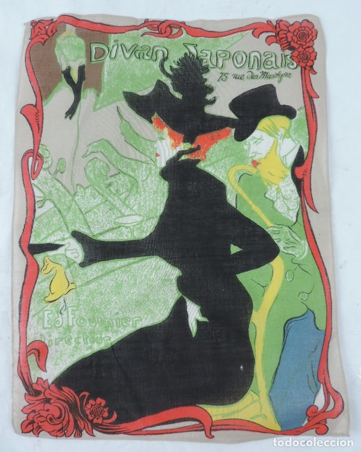 PAÑUELO DE PUBLICIDAD DE DIVAN JAPONAIS, 15 RUE DES MARAYRS, ED FOURNIER DIRECTEUR, MIDE 33 X 26 CMS (Coleccionismo - Varios)
