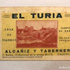 Coleccionismo: LA VALENCIA QUE FUE. TARJETA PÚBLICITARIA. EL TURIA, CASA DE VIAJEROS, CUARTO DE BAÑO. (H.1950?). Lote 178824542