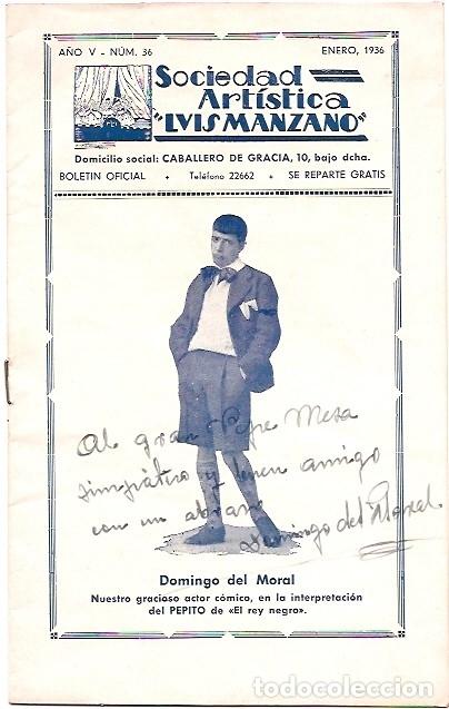 BOLETÍN OFICIAL SOCIEDAD ARTÍSTICA LUIS MANZANO (Coleccionismo - Laminas, Programas y Otros Documentos)