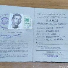 Coleccionismo: 1965 LICENCIA CICLISTA FRANCISCO MARTÍ MORENO PICAÑA FEDERACIÓN ESPAÑOLA DE CICLISMO ORIGINAL. Lote 179106805