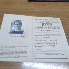 Coleccionismo: LICENCIA CICLISTA EDUARDO CASTELLÓ VILLANOVA O VILANOVA 1965 G.D FERRYS LICENCIA INTERNACIONAL. Lote 179108380