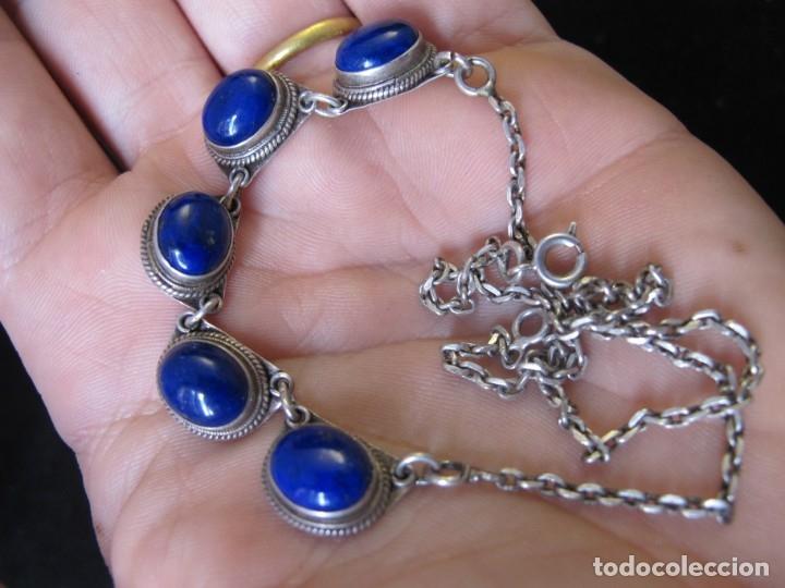 Coleccionismo: Collar de estilo étnico indio en plata de ley contrastada y lapis lazuli. 14 gramos. - Foto 6 - 179154475