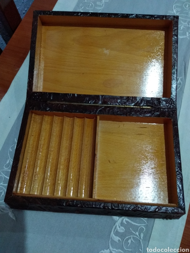 Coleccionismo: ANTIGUA ( CAJA DE PUROS EN MADERA Y CUERO REPUJADO ). MÁS ARTÍCULOS ANTIGUOS MI PERFIL - Foto 11 - 179174473