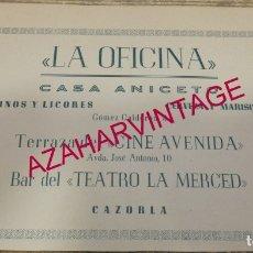 Coleccionismo: CAZORLA, ANTIGUA PUBLICIDAD LA OFICINA, CASA ANICETO, RETAL DE REVISTA. Lote 180087591