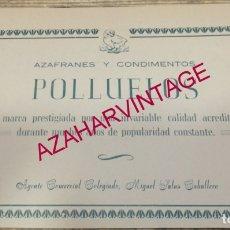 Coleccionismo: ANTIGUA PUBLICIDAD AZAFRAN POLLUELOS DE NOVELDA - VIUDA DE JORGE ROMERO, RETAL REVISTA. Lote 180087745