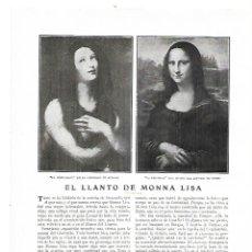 Coleccionismo: AÑO 1914 RECORTE PRENSA PINTURA EL LLANTO DE MONNA LISA POR MARTINEZ OLMEDILLA LA MAGDALENA BURGOS. Lote 180110366