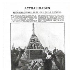 Coleccionismo: AÑO 1914 RECORTE PRENSA LAUTARET INAUGURACION MONUMENTO CAPITAN SCOTT EXPEDICION POLO SUR. Lote 180110841