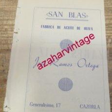 Coleccionismo: CAZORLA, ANTIGUA PUBLICIDAD FABRICA DE ACEITE SAN BLAS, RETAL DE REVISTA. Lote 180119236