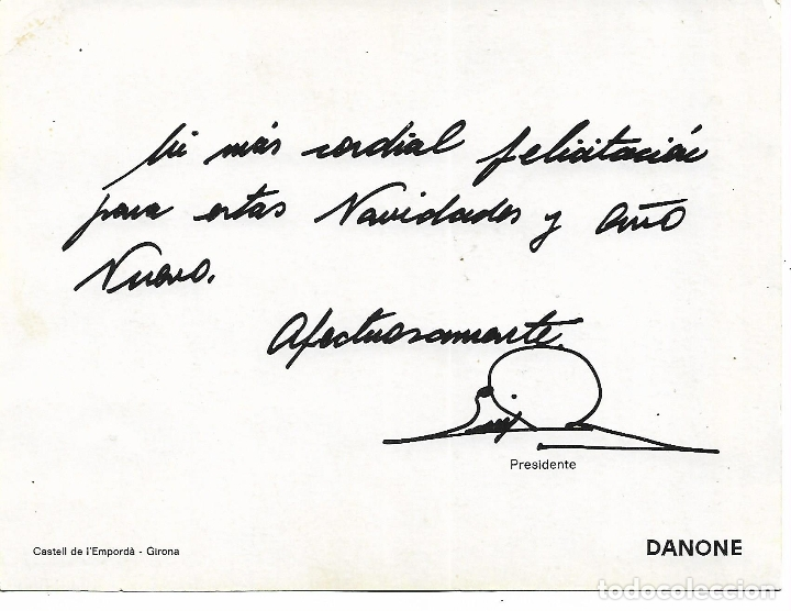 Coleccionismo: ANTIGUA LAMINA FELICITACION NAVIDAD DE DANONE - CASTELL DE L´EMPORDA - GIRONA - L. PORTABELLA - Foto 3 - 180127687
