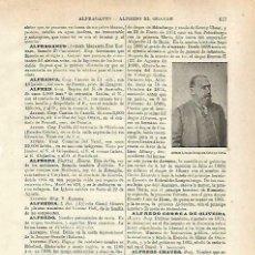 Coleccionismo: LAMINA ESPASA 33754: ALFREDO I, DUQUE DE SAJONIA. Lote 180146366