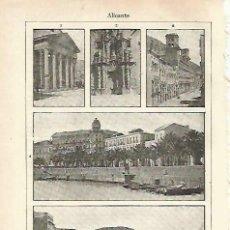Coleccionismo: LAMINA ESPASA 33762: TEATRO PRINCIPAL, IGLESIA DE SANTA MARIA, CASA DE ALBEROLA Y ARRABAL ROIG E.... Lote 180146476
