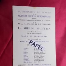 Coleccionismo: INVITACIÓN. EL SEMINARIO DEL TEATRO. ASOSIACIÓN CULTURAL IBEROAMERICANA. LA MIRADA MALÉFICA. . Lote 180211346