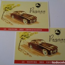 Coleccionismo: THE PEGASO SPORT AND RACING CARS OF THE 50´S. LOTE 2 POSTALES AÑO 2001. PEGASO TYPE 102. Lote 180217686