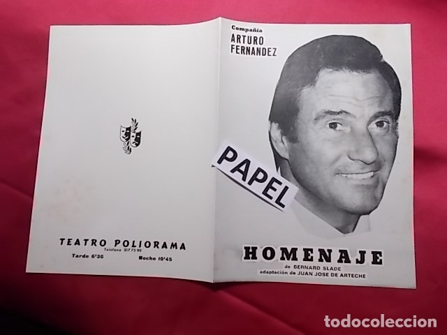 PROGRAMA. TEATRO POLIORAMA. COMPAÑIA ARTURO FERNANDEZ. HOMENAJE. 1980 (Coleccionismo - Laminas, Programas y Otros Documentos)