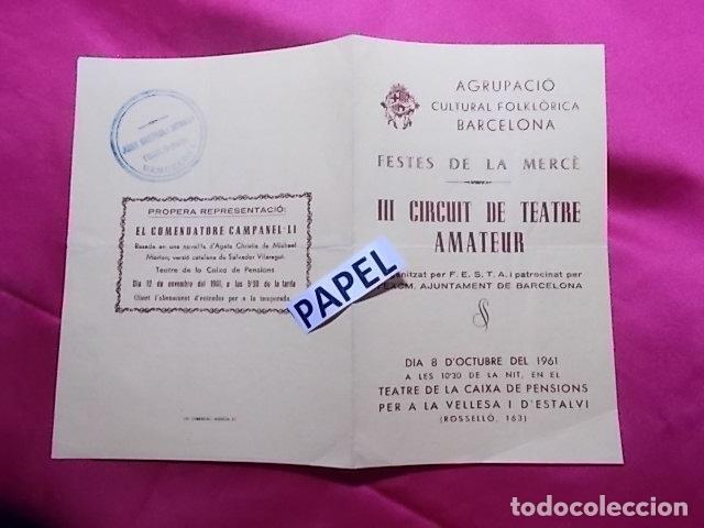 III CIRCUIT DE TEATRE AMATEUR. PROGRAMA. MOSSEN JANOT. DRAMA EN TRES ACTES. 1961 (Coleccionismo - Laminas, Programas y Otros Documentos)
