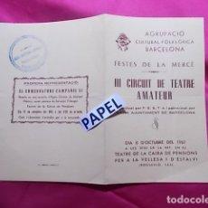 Coleccionismo: III CIRCUIT DE TEATRE AMATEUR. PROGRAMA. MOSSEN JANOT. DRAMA EN TRES ACTES. 1961. Lote 180267887