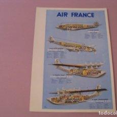 Collezionismo: MENU DE AIR FRANCE. VUELO PARIS - CARACAS EN BOEING 747. AÑOS 90. PORTADA ILUSTR. FLOTA DEL AÑO 1938. Lote 180279625