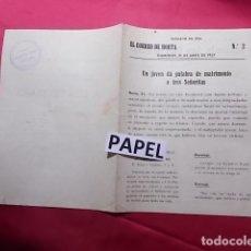 Coleccionismo: EL CORREO DE HORTA. 21-4-1957. CARTELERA DE ESPECTACULOS. LA CUA DEL DIABLE. L'ANGEL CASAMANTER. Lote 180281848