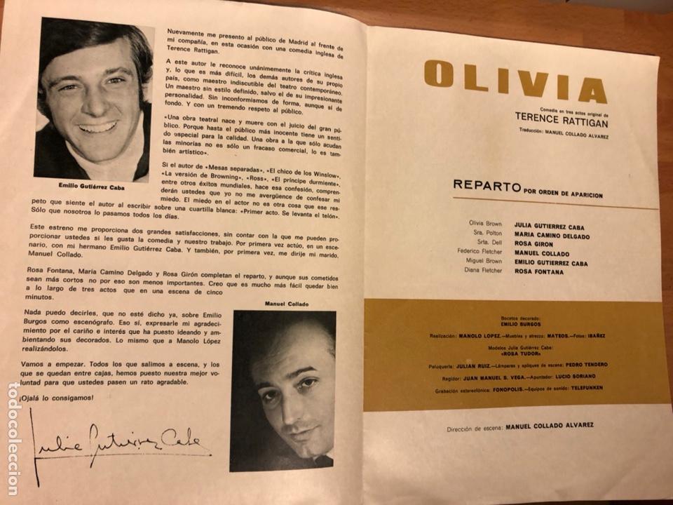 Coleccionismo: Programa teatro club olivia.julia y emilio Gutiérrez caba - Foto 2 - 180288753