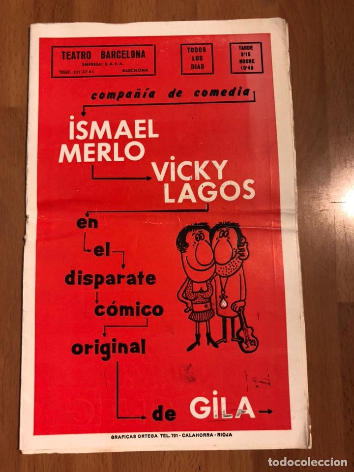 PROGRAMA TEATRO BARCELONA CONTAMOS CONTIGO.ISMAEL MERLO VICKY LAGOS GILA (Coleccionismo - Laminas, Programas y Otros Documentos)