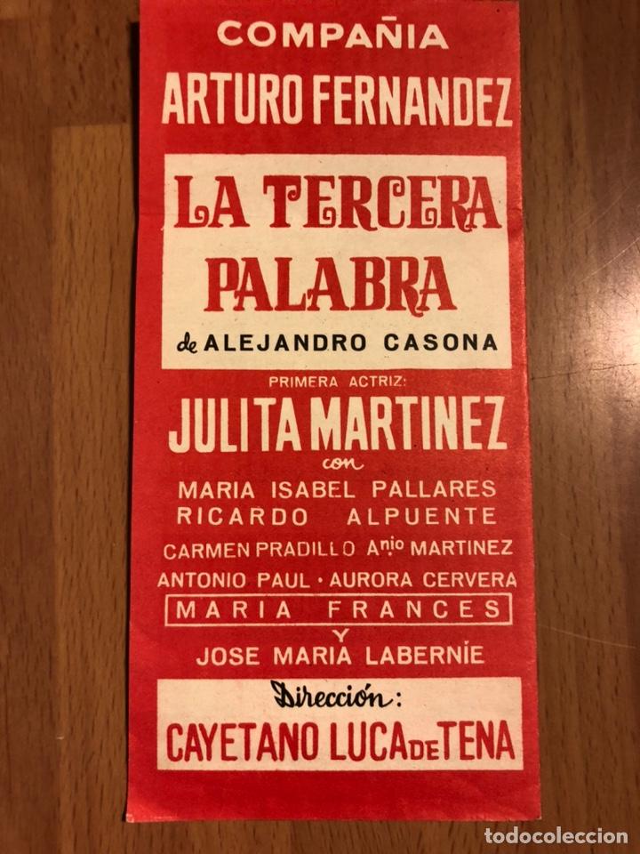 Coleccionismo: Programa teatro Calderón la tercera palabra.arturo Fernández julita Martínez - Foto 2 - 180289265