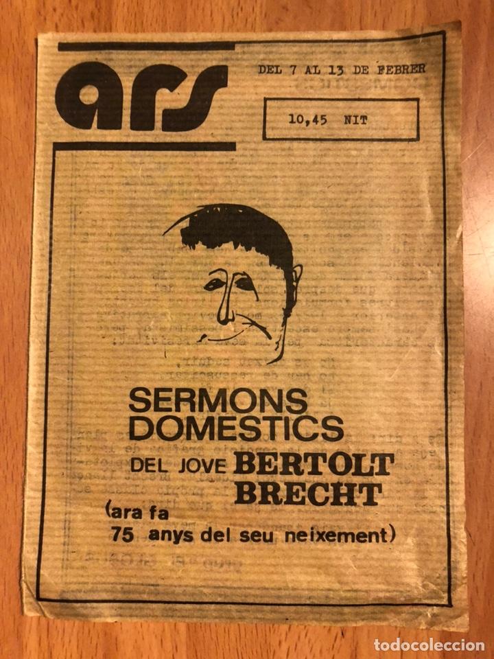 PROGRAMA TEATRO ARS SERMONS DOMESTICS BERTOLT BRECHT.FRANCESC TUDO MARÍA PLANS (Coleccionismo - Laminas, Programas y Otros Documentos)