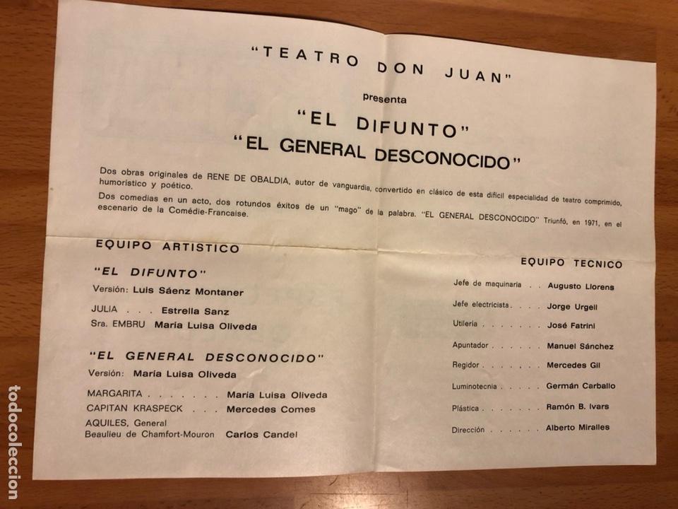 Coleccionismo: Programa teatro don juan.el difunto el general desconocido.estrella Sanz Maria Luisa oliveda - Foto 2 - 180289336