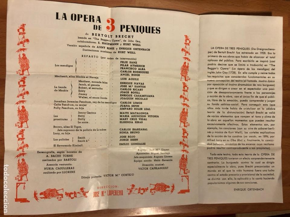 Coleccionismo: Programa teatro poliorama la opera de tres peniques bertolt brecht Carlos lemos amparo Soler leal - Foto 2 - 180289435