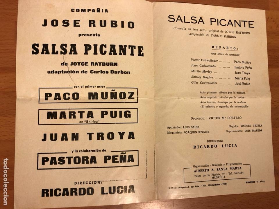 Coleccionismo: Programa teatro Calderón salsa picante.jose rubio paco muñoz - Foto 2 - 180289953