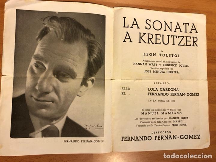 programa teatro poliorama la sonata a kreutzer - Comprar Documentos  antiguos en todocoleccion - 180332823