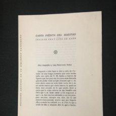 Coleccionismo: RECUERDO AMISTOSO DE UN BIBLIÓFILO EXTREMEÑO. CARTA INÉDITA DEL MAESTRO FRAY LUIS DE LEÓN.., 1935.. Lote 180347485
