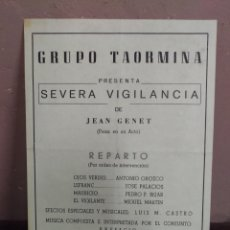 Coleccionismo: GRUPO TAORMINA PRESENTA SEVERA VIGILANCIA. Lote 180388862