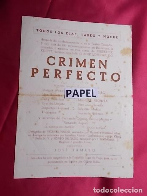 Coleccionismo: PROGRAMA. TEATRO ROMEA. CRIMEN PERFECTO. JOSE TAMAYO. MARY CARRILLO - Foto 2 - 180427813
