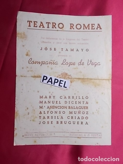 PROGRAMA. TEATRO ROMEA. CRIMEN PERFECTO. JOSE TAMAYO. MARY CARRILLO (Coleccionismo - Laminas, Programas y Otros Documentos)