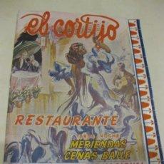 Coleccionismo: PROGRAMA RESTAURANTE EL CORTIJO BARCELONA . ESPECTACULO INTERNACIONAL 1954. Lote 181319280