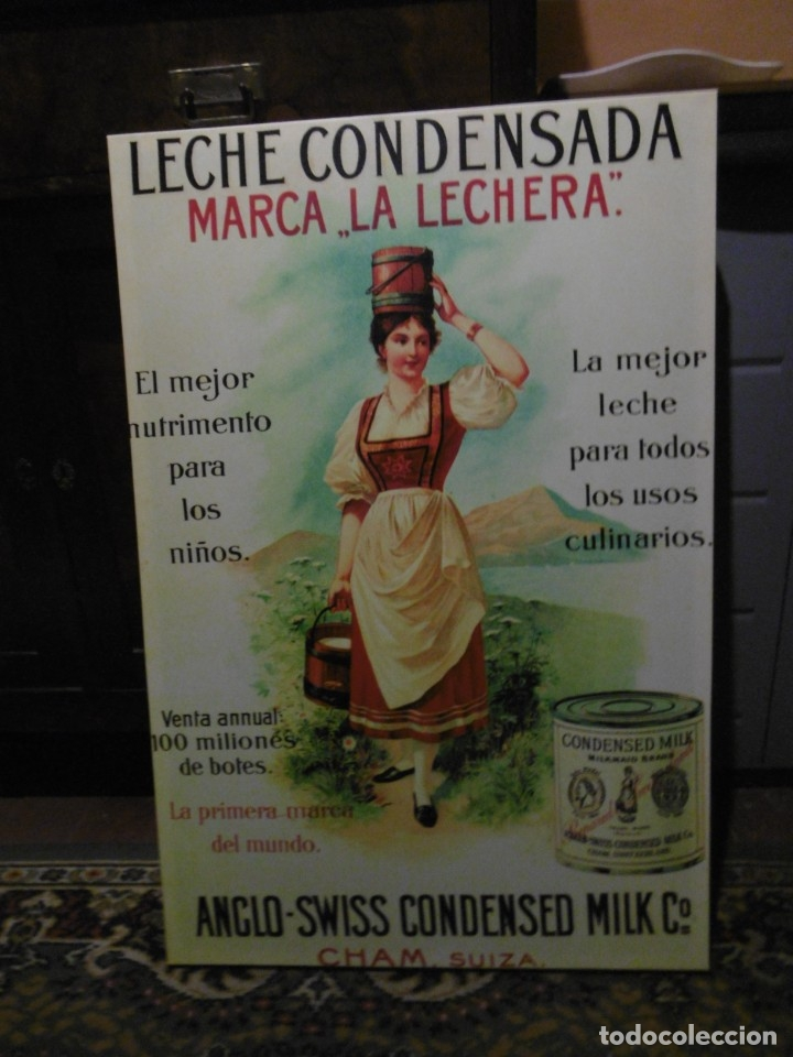 MODERNO CUADRO PUBLICIDAD LECHE CONDENSADA LA LECHERA. NESTLÉ. 60 X 90 CMS. (Coleccionismo - Varios)