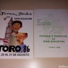 Coleccionismo: FERIAS Y FIESTAS DE SAN AGUSTÍN, TORO 1986. Lote 182645557