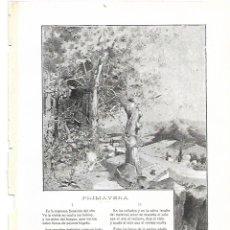 Coleccionismo: AÑO 1905 RECORTE PRENSA POESIA PRIMAVERA POR MANUEL JOSE OTJHON DIBUJO GISBERT. Lote 182662813