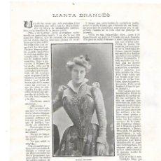 Coleccionismo: AÑO 1905 RECORTE PRENSA MARTA BRANDES ACTRIZ ARTISTA. Lote 182671520