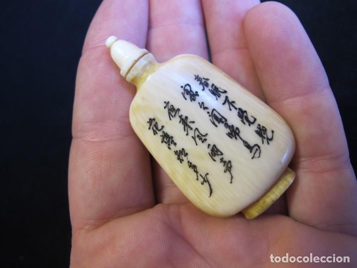 Coleccionismo: Pequeña tabaquera china tallada en hueso con la técnica scrimshaw - Foto 2 - 182784125