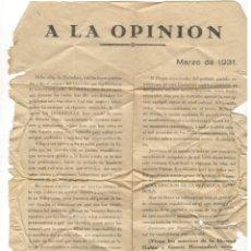 Coleccionismo: HOJA PROPAGANDA CANDIDATURA REPUBLICANA VILLAJOYOSA (ALICANTE) MARZO 1931. Lote 182834697